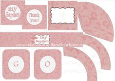 Printable Pink Floral Baptism Party decoration $12