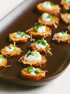 Loaded Sweet Potato Rounds  Part spicy and slightly salty, these sweet potato rounds won't last very long once you serve 'em (you've been wa...