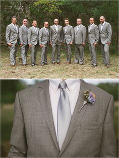 Gray groomsmen suit ideas. Captured By: Sunny 16 Photography ---> http://www.weddingchicks.com/2014/05/29/vintage-reception-with-steal-worthy-ideas/