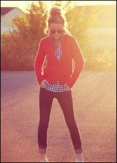 skinny jeans and gingham shirt with red cardigan