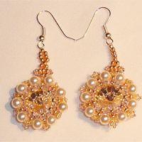 bead earrings, swirl bead