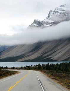 Lake between Jasper and Banff, Canada.