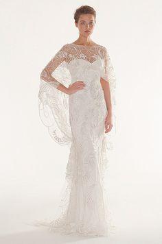 Illusion cape on a Peter Langer wedding dress, 2013.