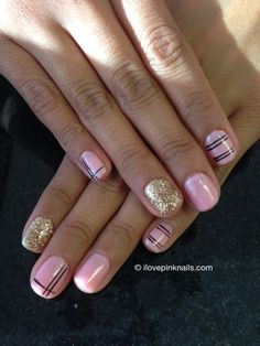 Pink and Black Nails with a little gold glitter!