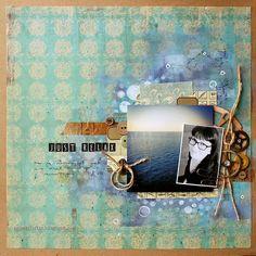 Riikka Kovasin - Paperiliitin - Mixed Media Layout - Maritime Collection #scrapbooklayout