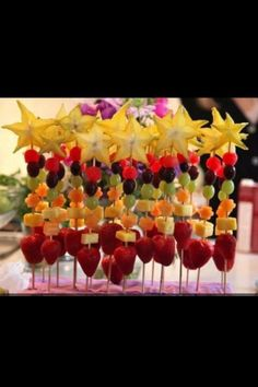 party snacks, summer parties, fruit kabobs, food, 4th of july, princess party, kid birthday parties, kid parties, wand