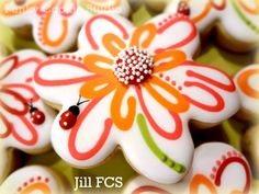 Beautiful! Flowers and Ladybugs by Jill FCS ~ Funky Cookie Studio