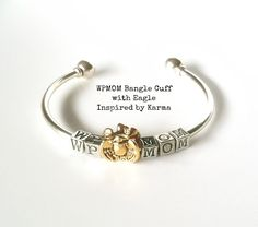 WPMOM Bangle Cuff Bracelet with Eagle - $28.00 - Handmade Jewelry, Crafts and Unique Gifts by Inspired by Karma #westpoint #military #militarygifts #giftsformilitarymoms #wpmom #americaneagle