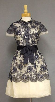 STRIKING Navy Lace & Ivory Organdy 1960's Sarmi Cocktail Dress