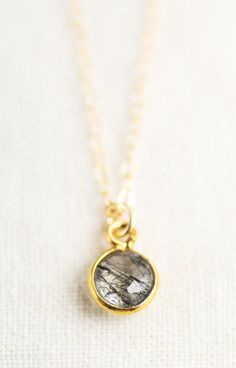 black rutilated quartz necklace, delicate gold