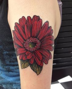 Gerber Daisy tattoo done by Ivan at Screamin' Ink in Fair Lawn, NJ. It took approximately 4 hours.