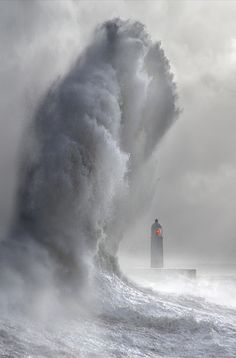 Giant wave during an epic storm, Cardiff, Wales