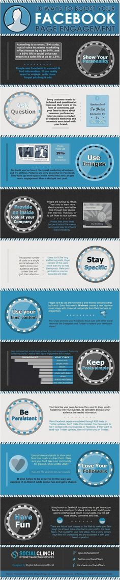 ~~~~(>_<)~~~~  10 Tips For Facebook Page Engagement #infographic #Facebook #Socialmedia #facebookpage