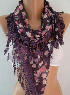 Georgeus Scarf   Elegance Scarf   Feminine Scarf....Purple  Flovered$19.00