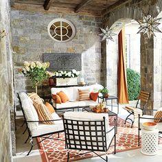 Mediterranean inspired porch decorating via Ballard Designs  #porch