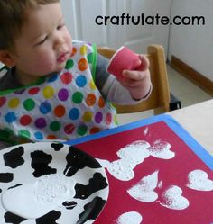 Heart sponges and paint Craftulate: 7 Easy Valentines Crafts for Toddlers