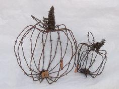 Barbed wire pumpkinsculptures