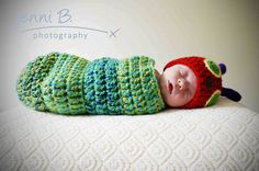 Can't help it.... this is just too adorable! The Very Hungry Catepillar Newborn Baby Beanie Hat and Body Pouch Set Photo Prop Crochet