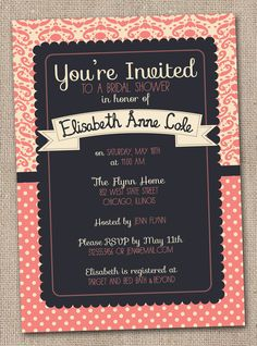 Printable Bridal Shower Invitations Coral and Navy Blue Damask Digital Design. $16.00, via Etsy.