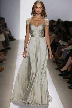 Silver wedding dress by Reem Acra