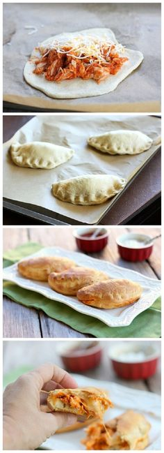 Chicken Taco Melts. using pillsbury grands biscuits. Cook chicken with taco seasoning. Press each biscuit into 6in round. Fill with chicken and cheese. Fold over and seal. Bake 9-14 min until golden.