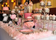 "candelabra as cupcake display-Photo 2 of 12: Parisian Fashion Show / Birthday ""Rhylee's Parisian Fashion Show"" 