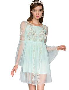 Mint Beaded Dress - Organza Dress - Party Dresses - $139
