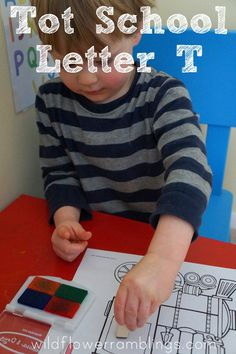 Tot School Printables Letter T is for Train from Wildflower Ramblings #totschool