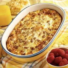 Always my fav! Crescent rolls on the bottom of a sprayed pan, then sausage crumbles, 2 cups of mozzarella cheese, then whip 6 eggs and 1 cup of milk together pour over the top and bake on 425* for 20 minutes. Season with salt and pepper over the top.