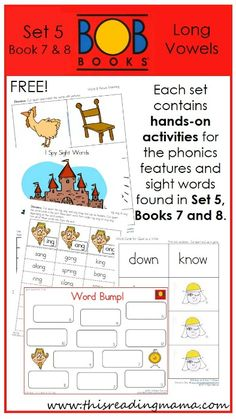 FREE BOB Book Printables for Set 5, Book 7 (Chickens) and Book 8 (The King) | This Reading Mama