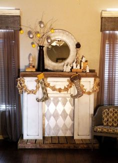 This mantle was made from a few old cabinet doors and an old palate, so cute!