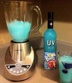 Blue Raspberry Lemonade. Kool-Aid. Uv Blue Vodka & Ice... Looks good...