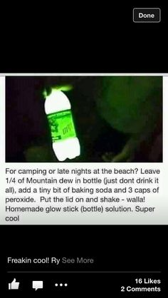 Homemade glow stick. I need to try this