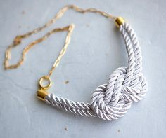 white nautical  knot rope necklace  with gold chain.    [etsy.com*pardes]