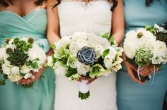 Mint and cream bouquets. Photo by Scobey Photography | via junebugweddings.com