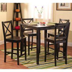 Virginia 5-Piece Counter-Height Dining Set, Black
