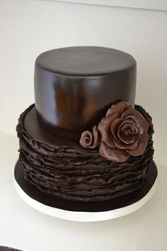 Larissa Chocolate wedding cake, chocolate fondant and modelling chocolate rose . Miss Lady bird Cakes Melbourne Weddings