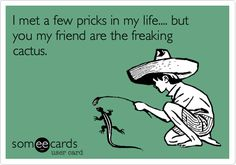 Funny Breakup Ecard: I met a few pricks in my life.... but you my friend are the freaking cactus.