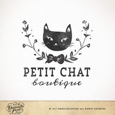 A hand drawn logo featuring a watercolor cat silhouette and wreath.    The layout and typography will be customized to fit your business name.