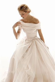 """""""The dimension of this is incredible. Not a classic, but if I was to go with an """"other than white"""", I would go with this! or maybe for the bridesmaids?....."""" - - - yes, i think this winter-white wedding dress would be perfect for all your bridesmaids. And perhaps you can wear a puffed sleeve coctail frock in teal? with silver sandals? wedding dresses classic, wedding dresses for winter, classic bridesmaid dresses, winter wedding dress, off white wedding dresses, classic wedding gowns, incredible wedding dresses, classic wedding dresses, winter bridesmaid dresses"""