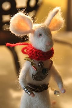 Steampunk needle felted mouse