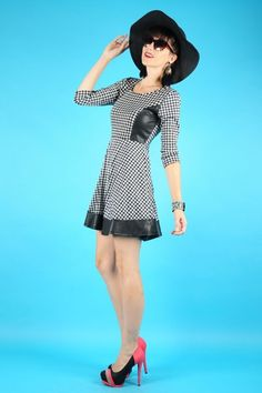 Houndstooth Dress With Faux Leather Cutouts - cute dress but the catalog pose is killing me. lol