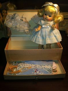 Vintage Vogue Ginny Doll  High color matte finish w/ fitted fiber case & clothes #Dolls