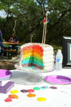 RAINBOW CAKE at an Art Party! Found via Kara's Party Ideas | KarasPartyIdeas.com #Art #Coloring #Painting #Rainbow #Ideas #Supplies #cake