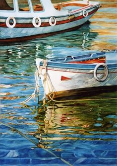 Grecian Boats  (watercolor by Elaine Hahn)