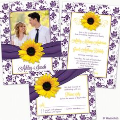 Yellow sunflower and purple floral damask and ribbon photo wedding invitation and reply card by wasootch, Prices for printed invitations and reply cards starting at $115.00. Prices include shipping and envelopes.  #weddings #weddinginvitations #sunflowerwedding #weddinginvites
