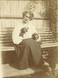 Vintage lady with 2 dachshunds