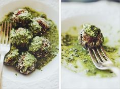 "lentil ""meatballs"" in lemon pesto"