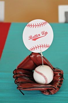 Bar Mitzvah Sports Theme http://www.bmmagazine.com/home/mitzvah-store - Season Opener: Baseball Party Ideas. Centerpiece idea using @Samantha @AbdulAziz Bukhamseen Home Sweet Home Blog Young Tree Greetings table decor