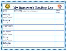 Free Homework Reading Log. theorganizedclassroomblog.com